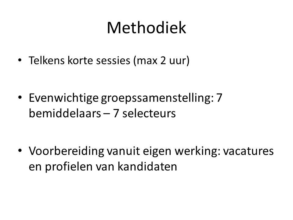 Methodiek Telkens korte sessies (max 2 uur) Evenwichtige groepssamenstelling: 7 bemiddelaars – 7 selecteurs Voorbereiding vanuit eigen werking: vacatures en profielen van kandidaten