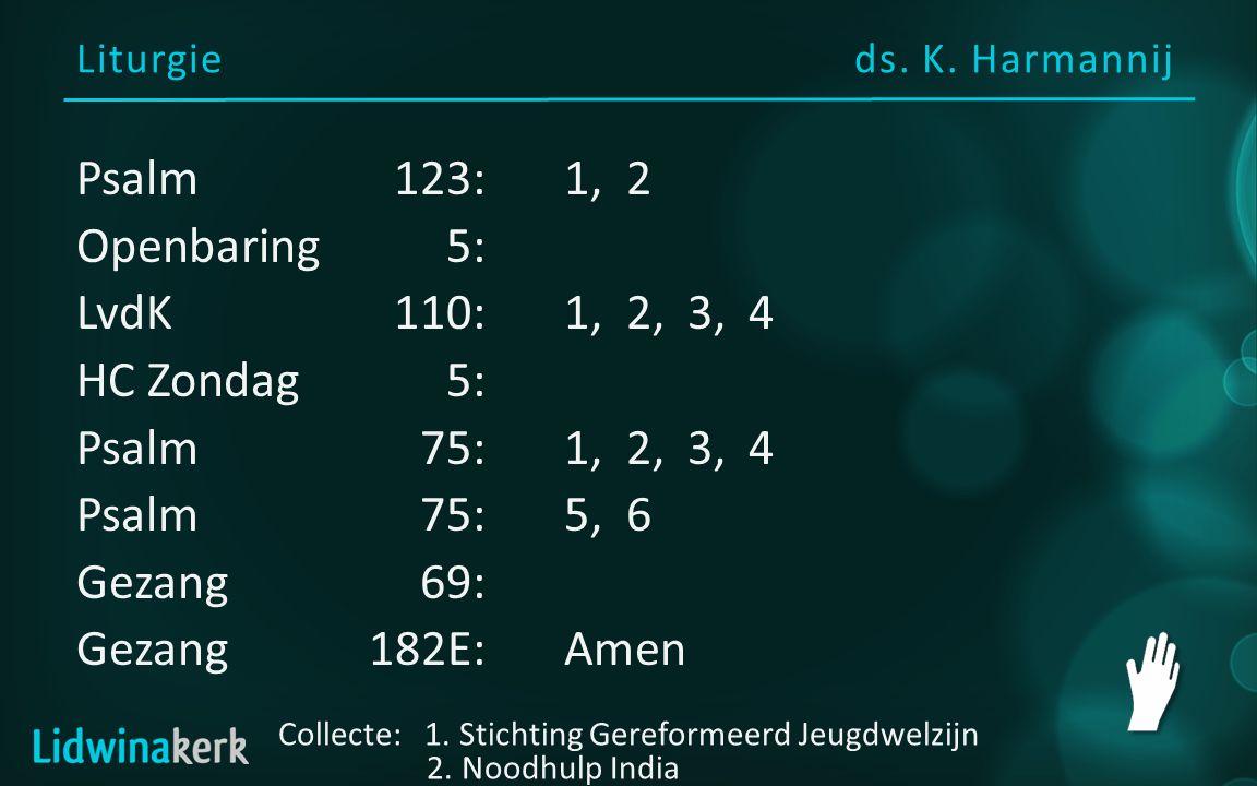 Liturgieds. K. Harmannij Collecte: 1. Stichting Gereformeerd Jeugdwelzijn 2. Noodhulp India Psalm123:1, 2 Openbaring5: LvdK110:1, 2, 3, 4 HC Zondag5: