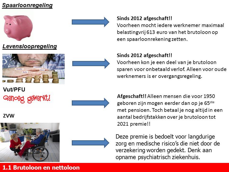 1.1 Brutoloon en nettoloon Spaarloonregeling Levensloopregeling Vut/PFU ZVW Sinds 2012 afgeschaft!.