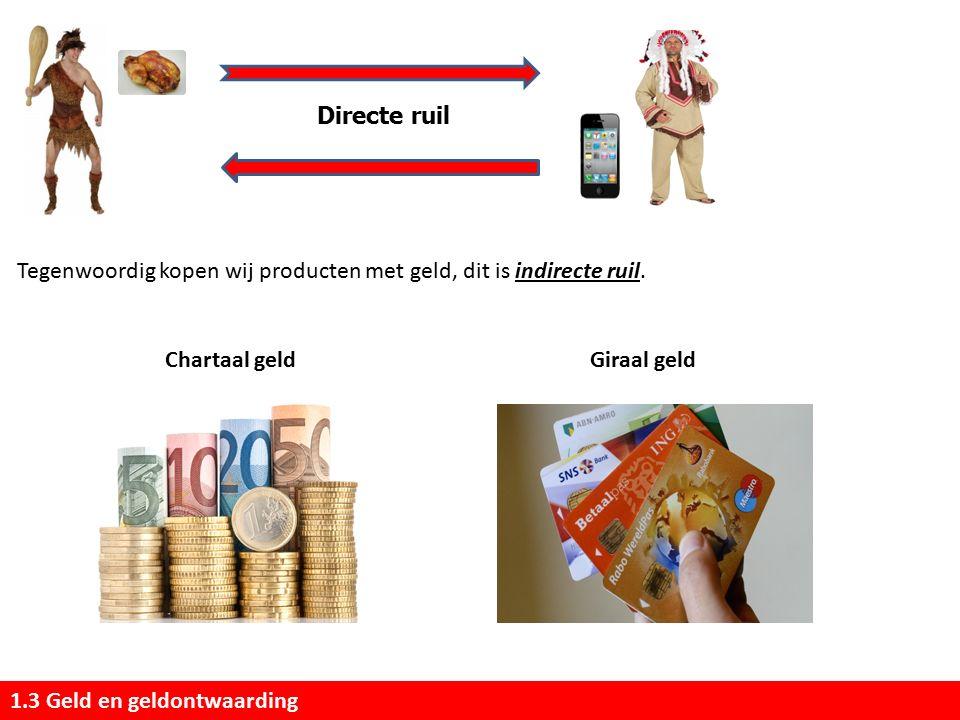 1.3 Geld en geldontwaarding Directe ruil Tegenwoordig kopen wij producten met geld, dit is indirecte ruil.