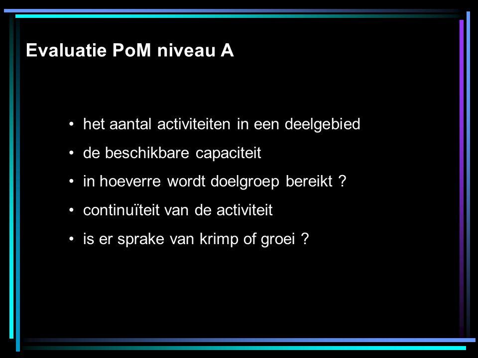 Evaluatie PoM niveau A het aantal activiteiten in een deelgebied de beschikbare capaciteit in hoeverre wordt doelgroep bereikt .