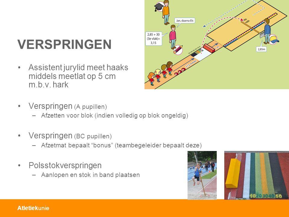 Atletiekunie VERSPRINGEN Assistent jurylid meet haaks middels meetlat op 5 cm m.b.v.