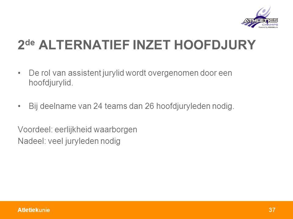 Atletiekunie 2 de ALTERNATIEF INZET HOOFDJURY De rol van assistent jurylid wordt overgenomen door een hoofdjurylid.
