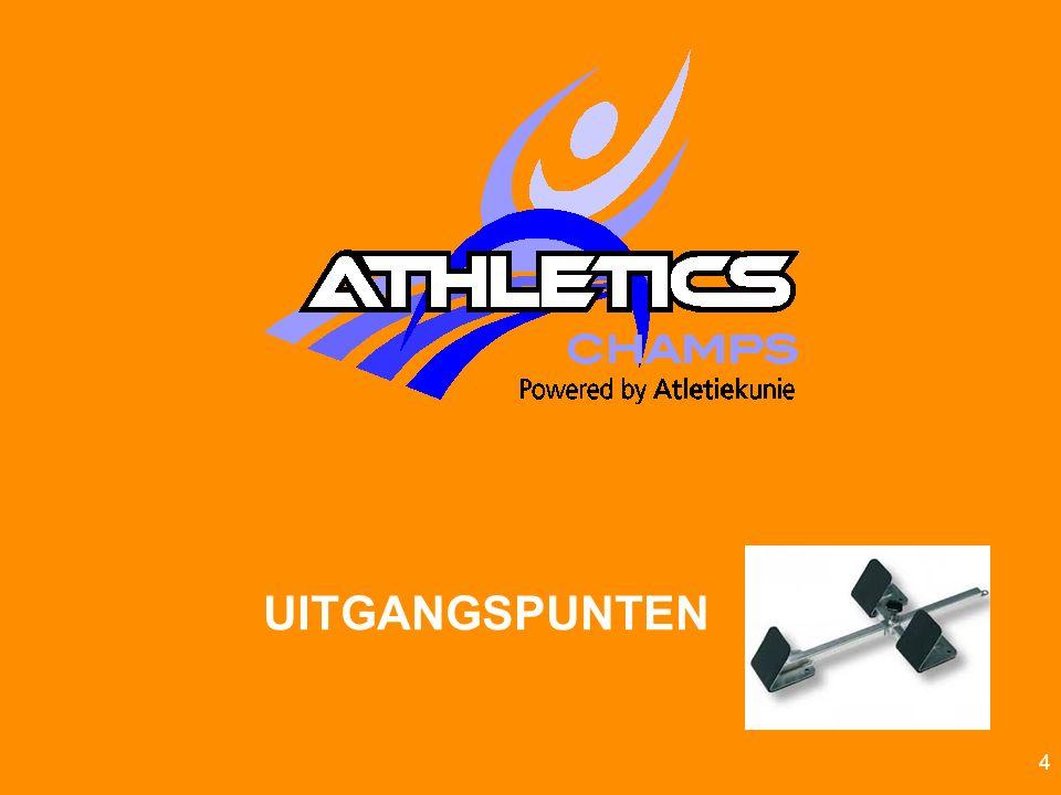 Atletiekunie5 HET KIND CENTRAAL Speels- prestatief (succes) beleving Teams (verbondenheid) VeelzijdigIntensief Champs.