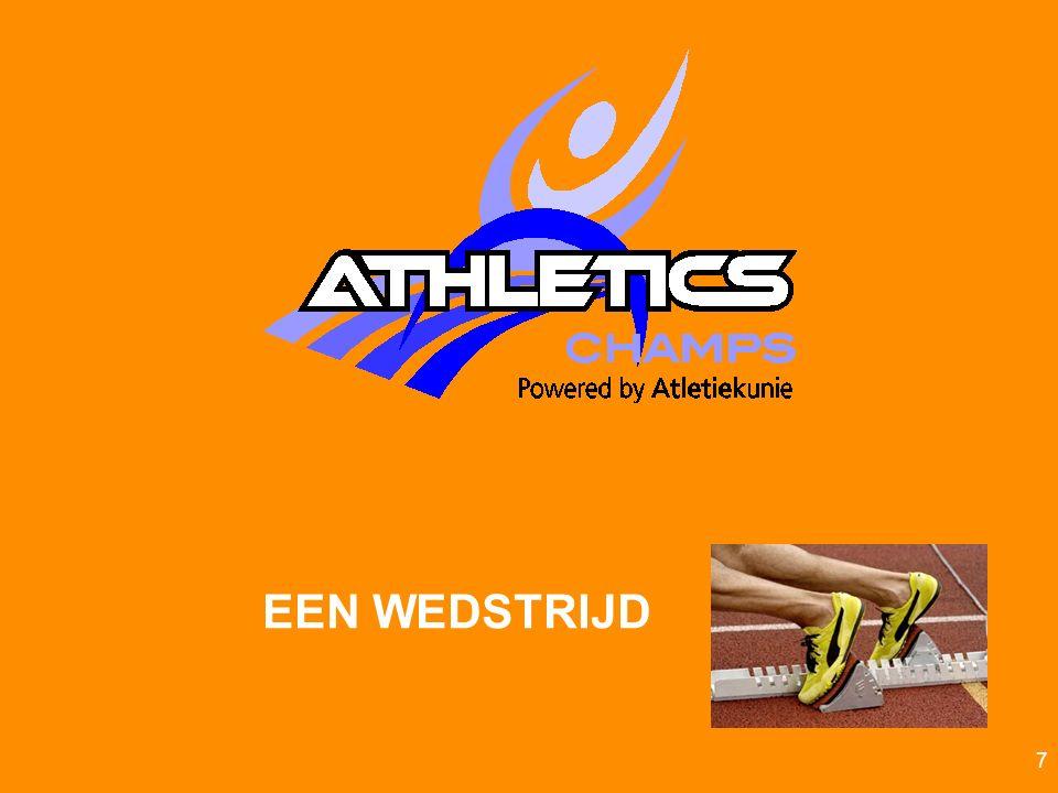 Atletiekunie Teamestafette (alle pupillen) Loop in estafettevorm 12 keer (6x heen en weer) over de hindernissen Wisselen door aantikken achter paaltjegeweest.