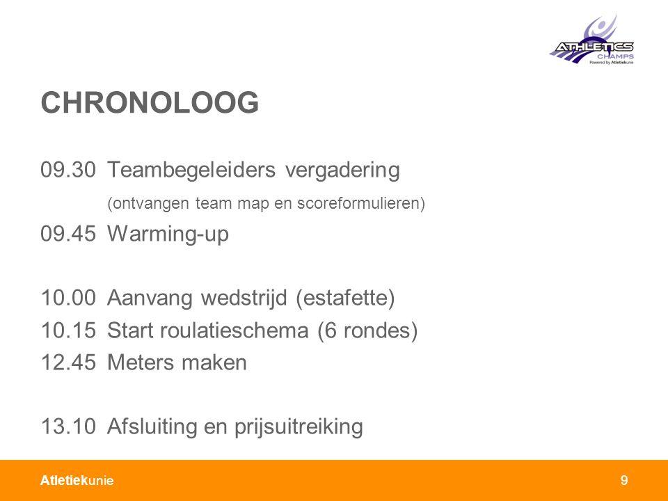 Atletiekunie9 CHRONOLOOG 09.30Teambegeleiders vergadering (ontvangen team map en scoreformulieren) 09.45Warming-up 10.00Aanvang wedstrijd (estafette) 10.15Start roulatieschema (6 rondes) 12.45Meters maken 13.10Afsluiting en prijsuitreiking