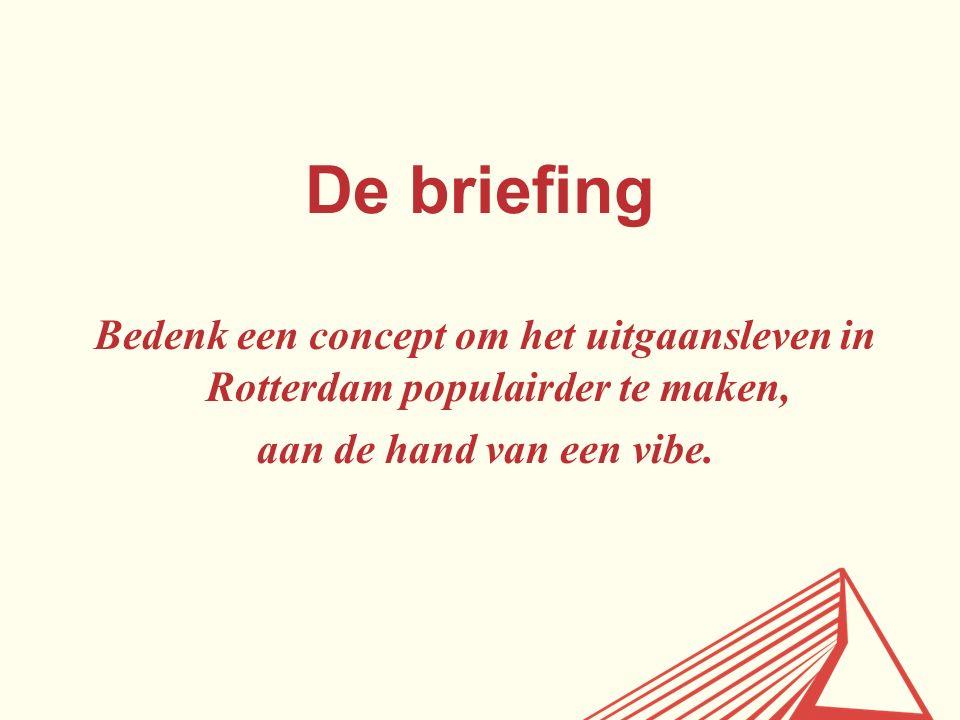 De briefing Bedenk een concept om het uitgaansleven in Rotterdam populairder te maken, aan de hand van een vibe.