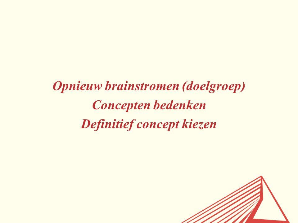 Opnieuw brainstromen (doelgroep) Concepten bedenken Definitief concept kiezen