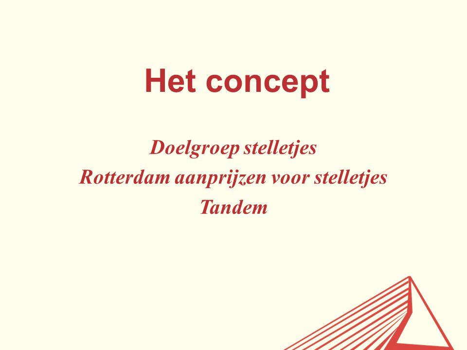 Het concept Doelgroep stelletjes Rotterdam aanprijzen voor stelletjes Tandem