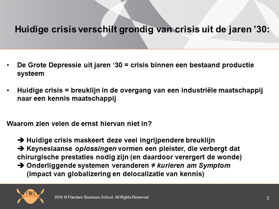 2010 © Flanders Business School. All Rights Reserved 2 Huidige crisis verschilt grondig van crisis uit de jaren '30: De Grote Depressie uit jaren '30