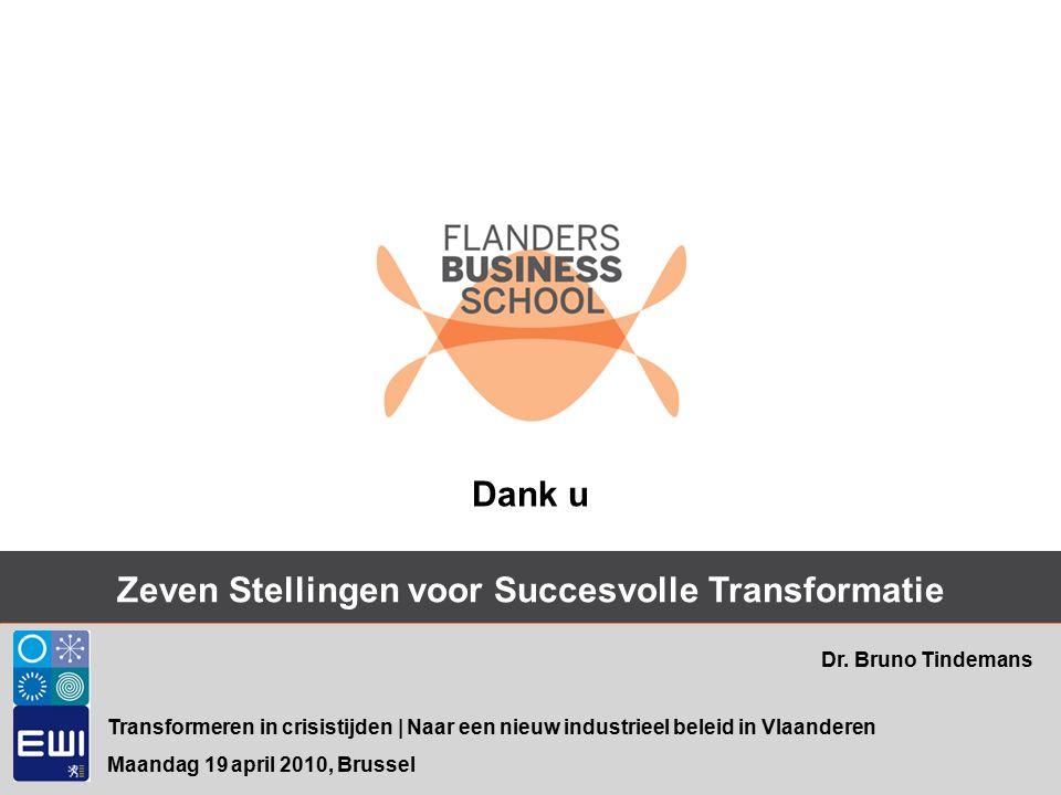 Zeven Stellingen voor Succesvolle Transformatie Transformeren in crisistijden | Naar een nieuw industrieel beleid in Vlaanderen Maandag 19 april 2010, Brussel Dr.