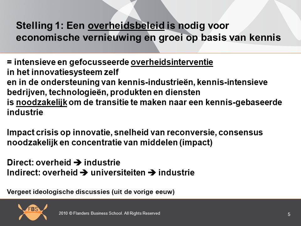2010 © Flanders Business School. All Rights Reserved 5 Stelling 1: Een overheidsbeleid is nodig voor economische vernieuwing en groei op basis van ken