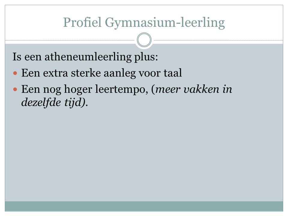 Profiel Gymnasium-leerling Is een atheneumleerling plus: Een extra sterke aanleg voor taal Een nog hoger leertempo, (meer vakken in dezelfde tijd).