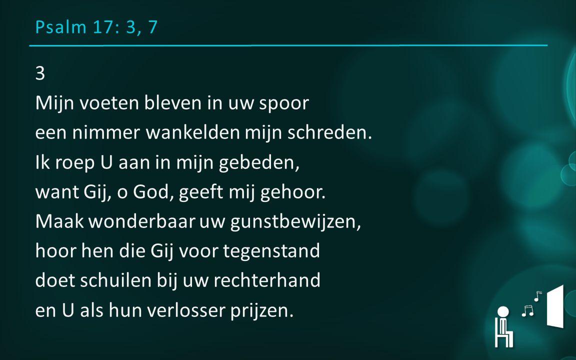 Psalm 17: 3, 7 3 Mijn voeten bleven in uw spoor een nimmer wankelden mijn schreden.