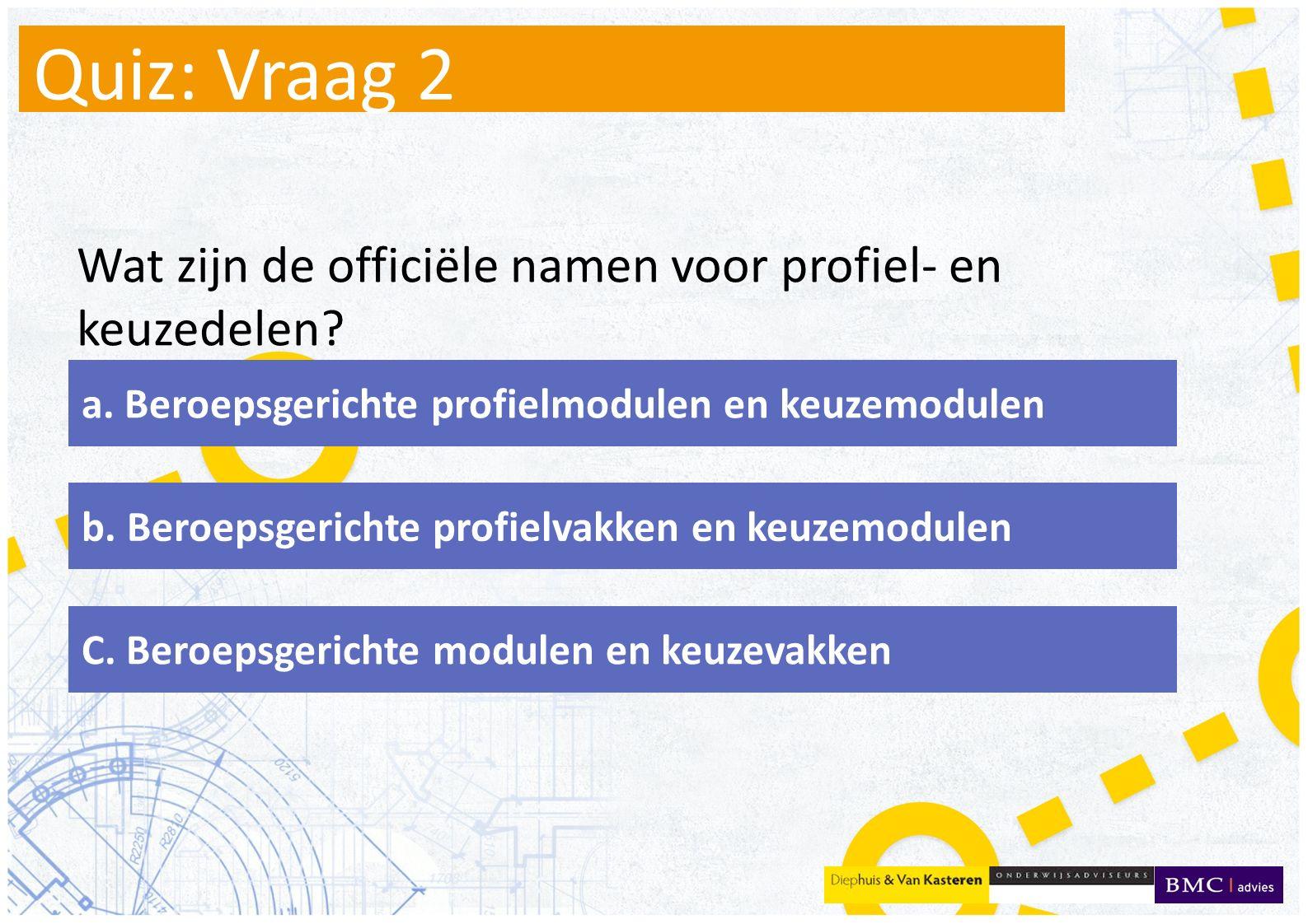 Quiz: Vraag 2 Wat zijn de officiële namen voor profiel- en keuzedelen.