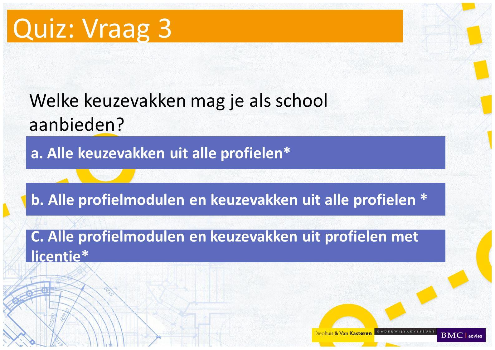 Quiz: Vraag 3 Welke keuzevakken mag je als school aanbieden.