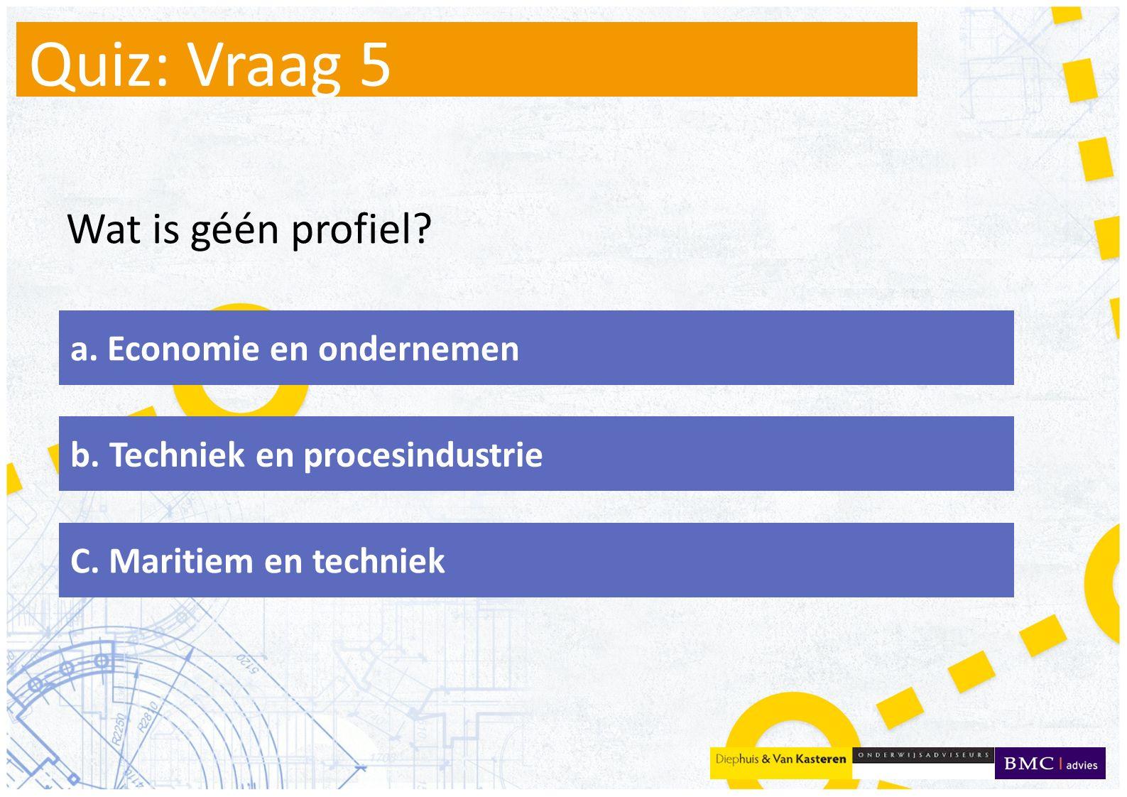 Quiz: Vraag 5 Wat is géén profiel. a. Economie en ondernemen b.