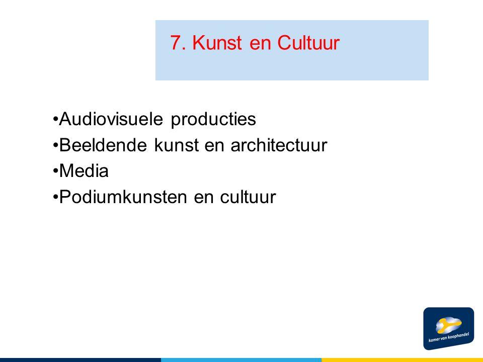 7. Kunst en Cultuur Audiovisuele producties Beeldende kunst en architectuur Media Podiumkunsten en cultuur