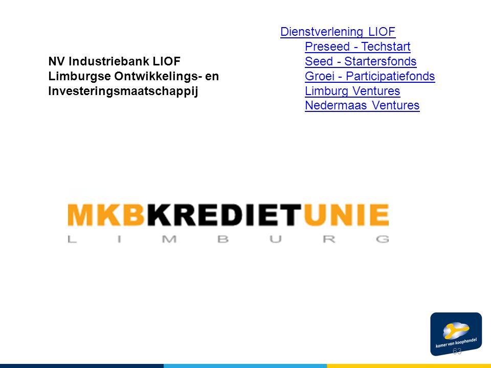 63 NV Industriebank LIOF Limburgse Ontwikkelings- en Investeringsmaatschappij Dienstverlening LIOF Preseed - Techstart Seed - Startersfonds Groei - Participatiefonds Limburg Ventures Nedermaas Ventures