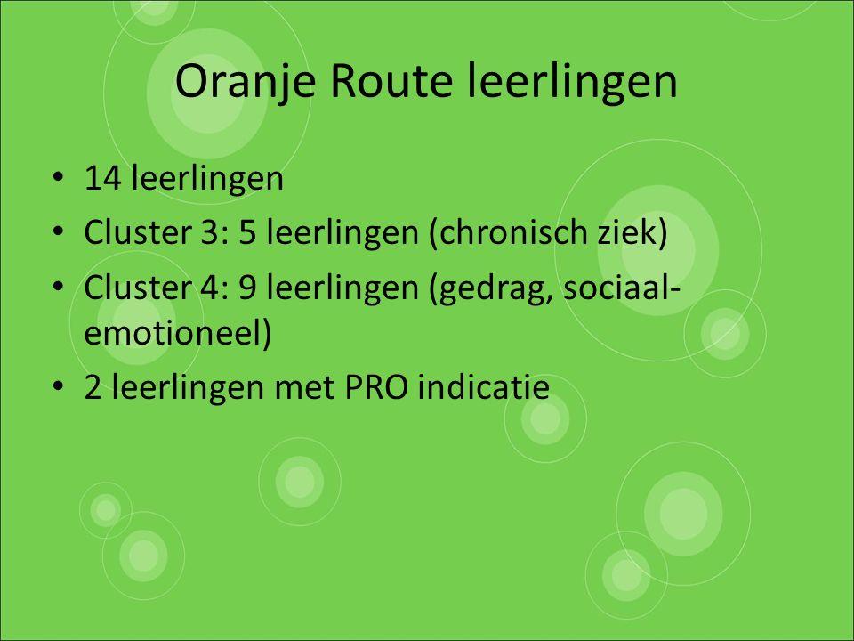 Oranje Route leerlingen 14 leerlingen Cluster 3: 5 leerlingen (chronisch ziek) Cluster 4: 9 leerlingen (gedrag, sociaal- emotioneel) 2 leerlingen met