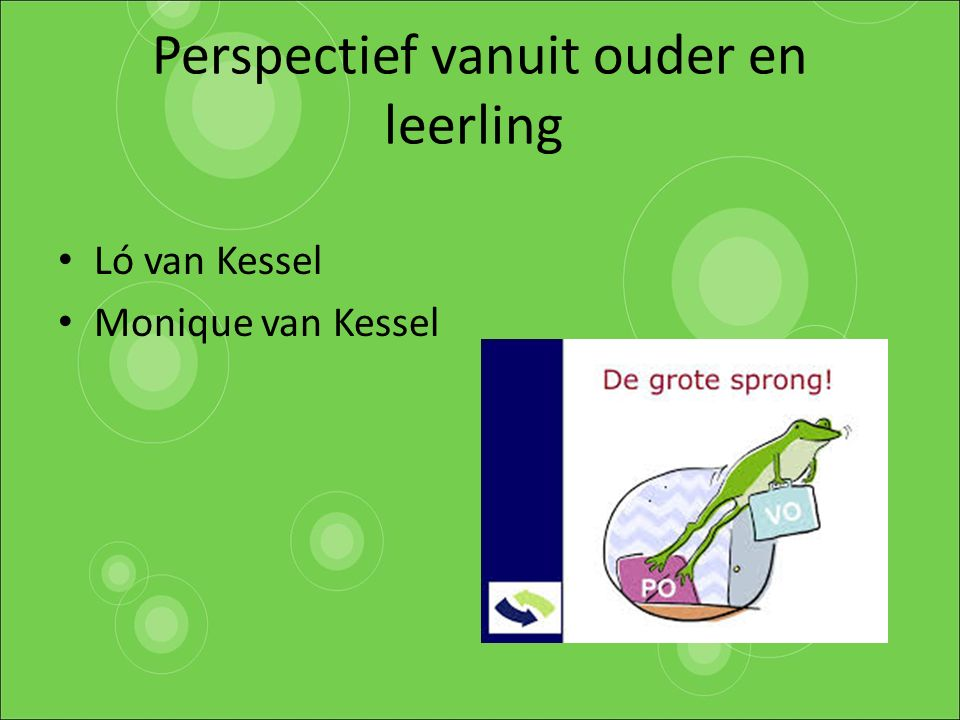 Perspectief vanuit ouder en leerling Ló van Kessel Monique van Kessel
