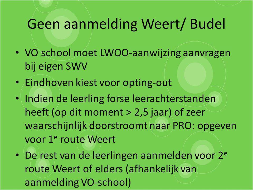 Geen aanmelding Weert/ Budel VO school moet LWOO-aanwijzing aanvragen bij eigen SWV Eindhoven kiest voor opting-out Indien de leerling forse leerachte