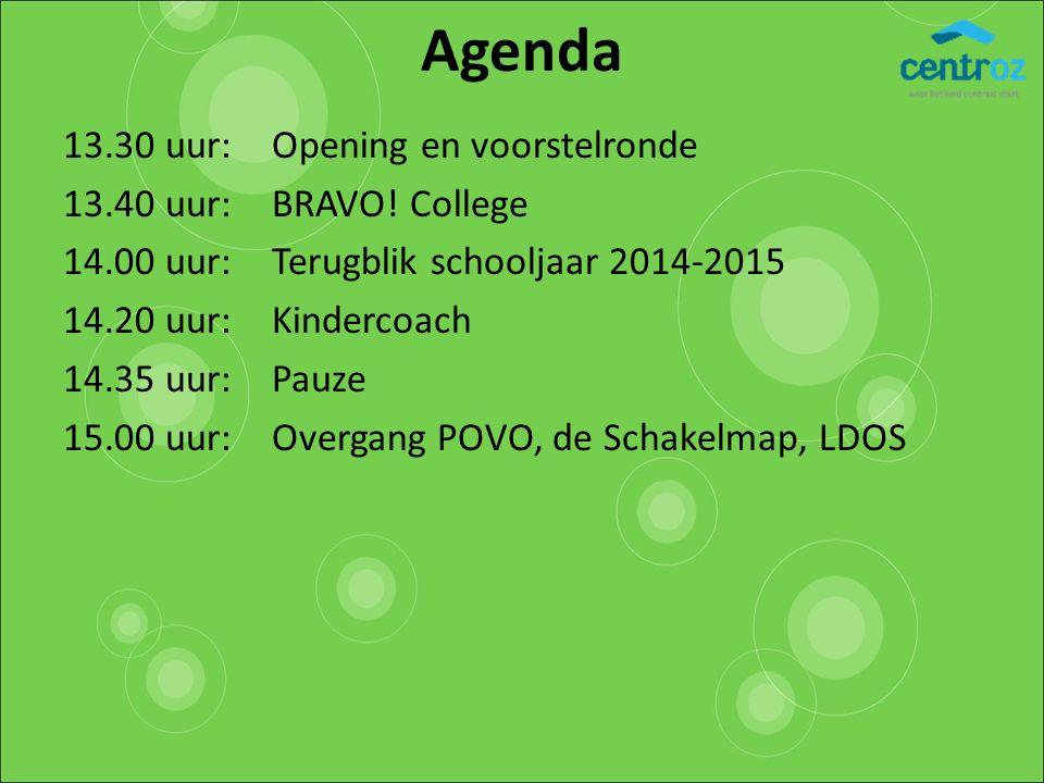 Agenda 13.30 uur: Opening en voorstelronde 13.40 uur: BRAVO! College 14.00 uur:Terugblik schooljaar 2014-2015 14.20 uur:Kindercoach 14.35 uur: Pauze 1