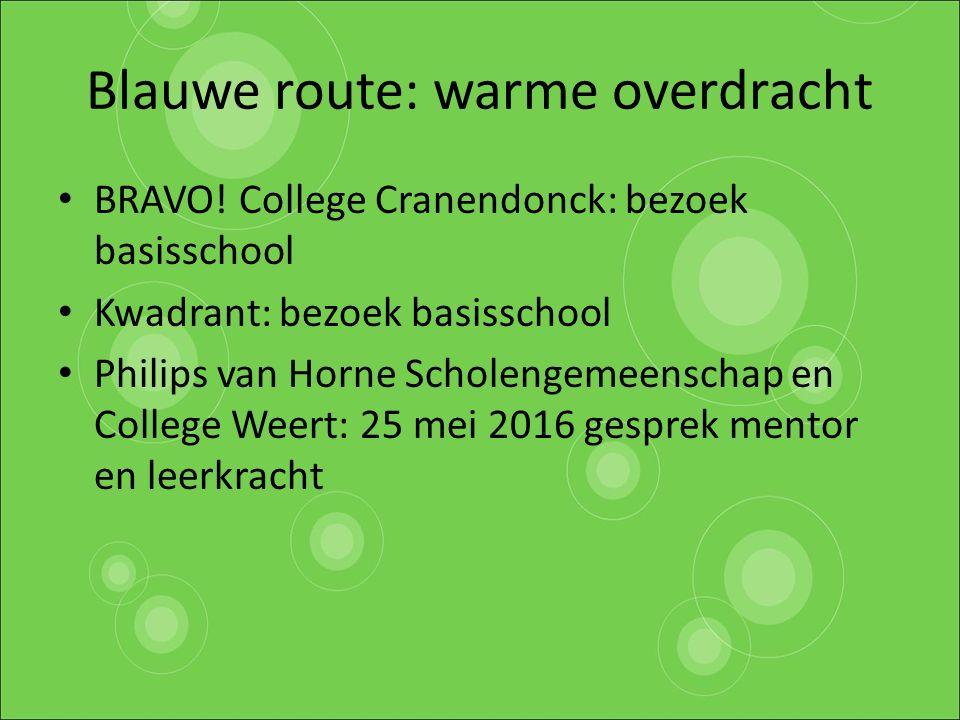 Blauwe route: warme overdracht BRAVO! College Cranendonck: bezoek basisschool Kwadrant: bezoek basisschool Philips van Horne Scholengemeenschap en Col