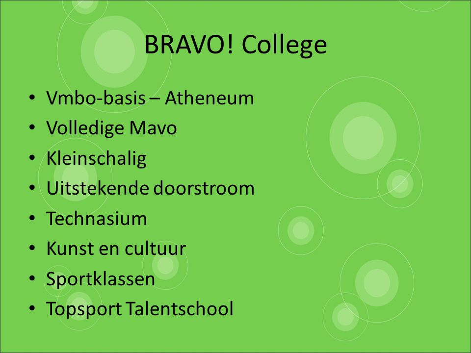 Vmbo-basis – Atheneum Volledige Mavo Kleinschalig Uitstekende doorstroom Technasium Kunst en cultuur Sportklassen Topsport Talentschool