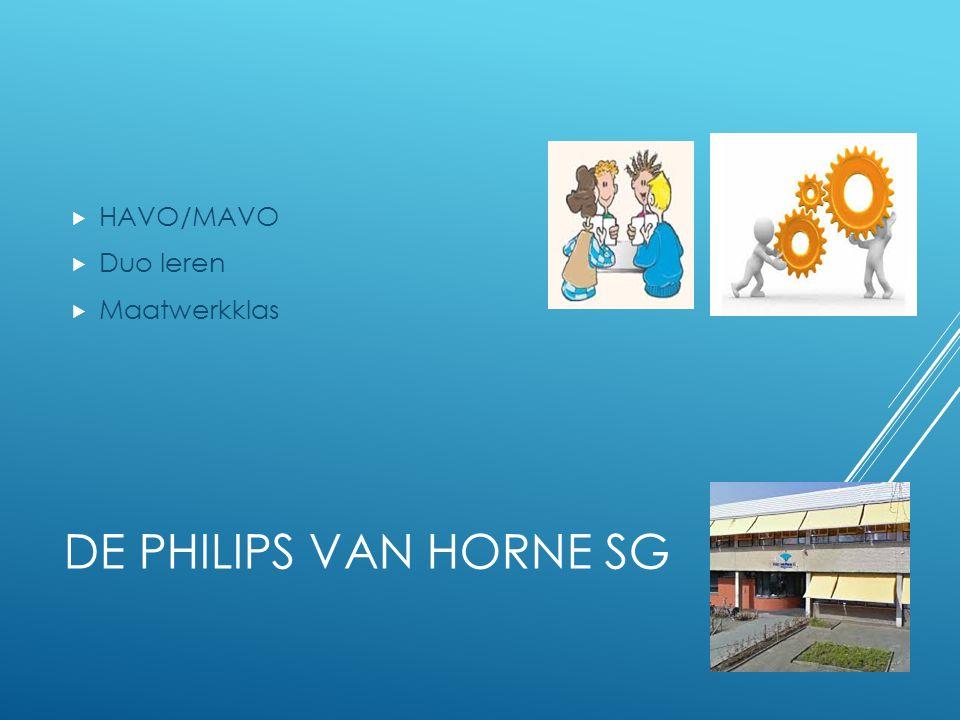 DE PHILIPS VAN HORNE SG  HAVO/MAVO  Duo leren  Maatwerkklas