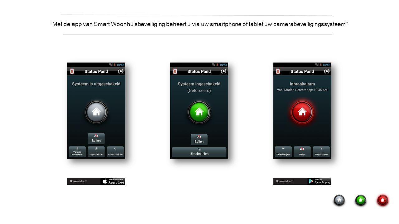 Met de app van Smart Woonhuisbeveiliging beheert u via uw smartphone of tablet uw camerabeveiligingssysteem