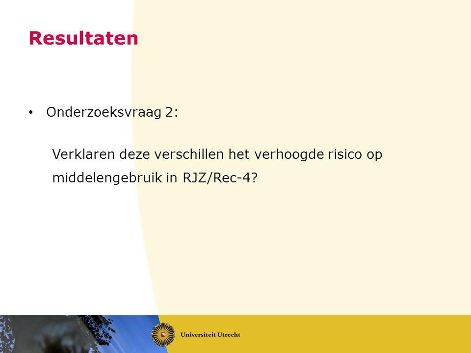 Resultaten Onderzoeksvraag 2: Verklaren deze verschillen het verhoogde risico op middelengebruik in RJZ/Rec-4