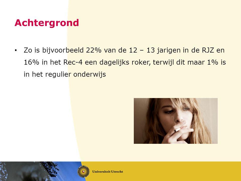 Achtergrond Zo is bijvoorbeeld 22% van de 12 – 13 jarigen in de RJZ en 16% in het Rec-4 een dagelijks roker, terwijl dit maar 1% is in het regulier onderwijs
