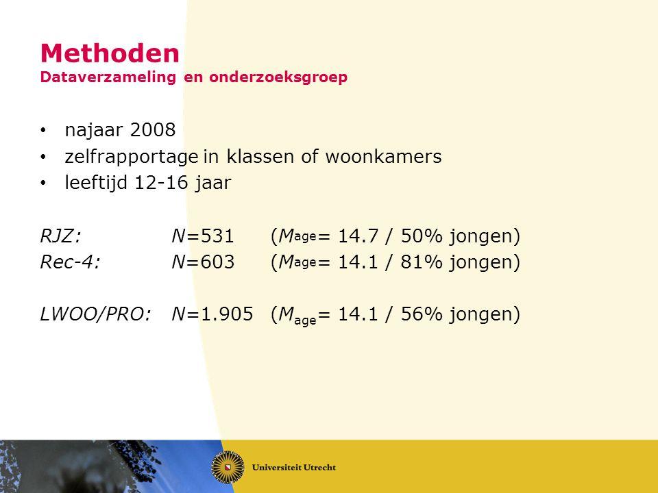 Methoden Dataverzameling en onderzoeksgroep najaar 2008 zelfrapportage in klassen of woonkamers leeftijd 12-16 jaar RJZ: N=531 (M age = 14.7 / 50% jongen) Rec-4: N=603 (M age = 14.1 / 81% jongen) LWOO/PRO: N=1.905 (M age = 14.1 / 56% jongen)
