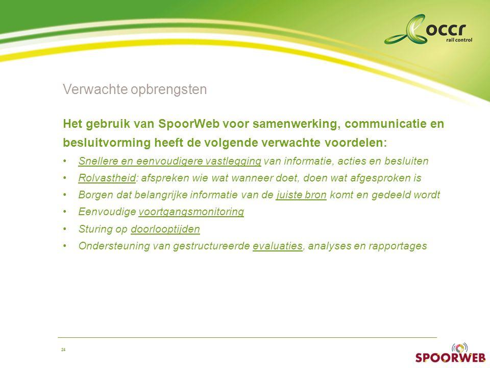 24 Verwachte opbrengsten Het gebruik van SpoorWeb voor samenwerking, communicatie en besluitvorming heeft de volgende verwachte voordelen: Snellere en