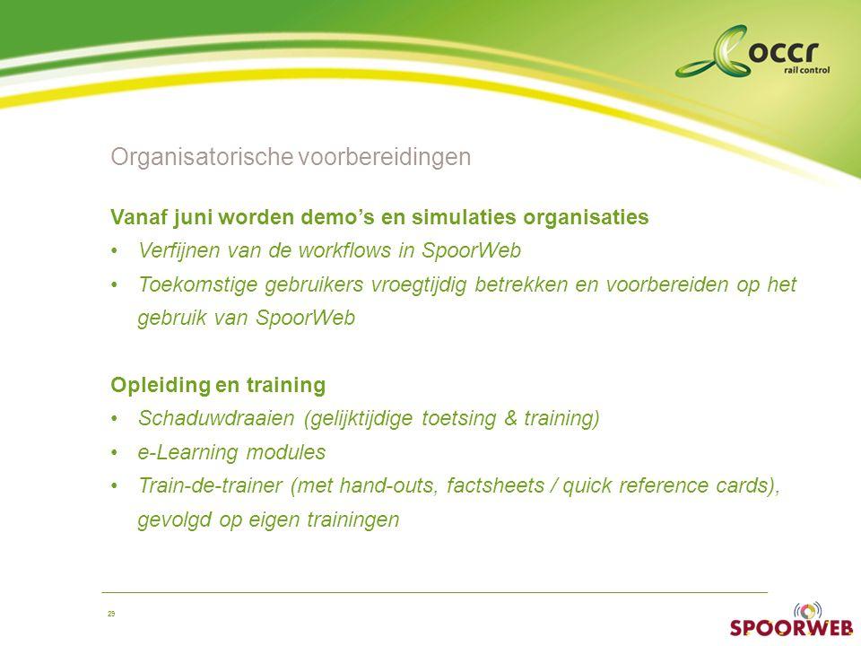 29 Organisatorische voorbereidingen Vanaf juni worden demo's en simulaties organisaties Verfijnen van de workflows in SpoorWeb Toekomstige gebruikers