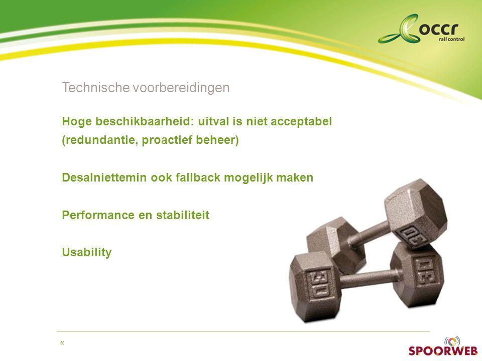 30 Technische voorbereidingen Hoge beschikbaarheid: uitval is niet acceptabel (redundantie, proactief beheer) Desalniettemin ook fallback mogelijk maken Performance en stabiliteit Usability