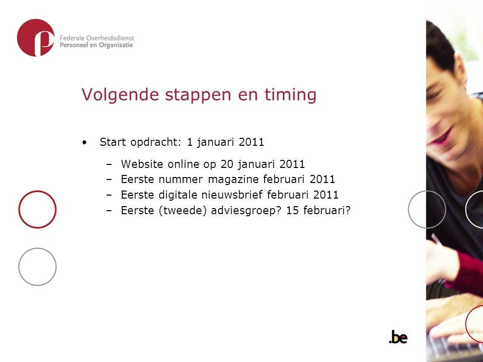 Volgende stappen en timing Start opdracht: 1 januari 2011 –Website online op 20 januari 2011 –Eerste nummer magazine februari 2011 –Eerste digitale nieuwsbrief februari 2011 –Eerste (tweede) adviesgroep.