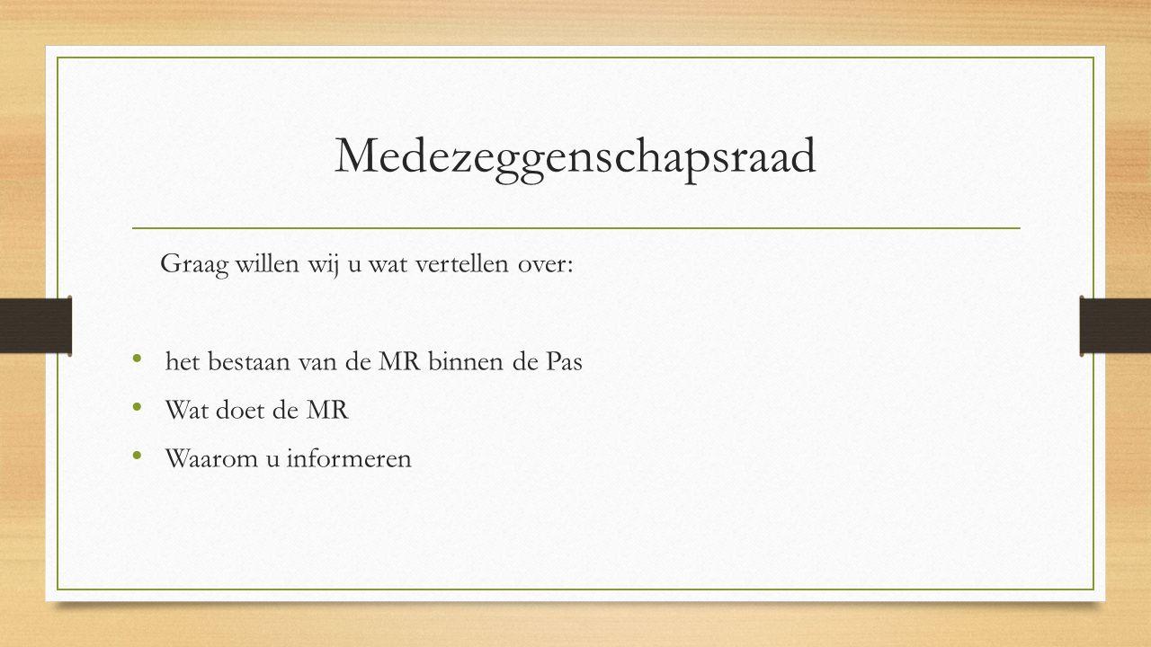 Deelnemers MR Vanuit leerkrachten - Carina Niessen - Ilonka Veerman - Willeke Leistra Vanuit ouders - Harriet Maessen- Judith v.d.