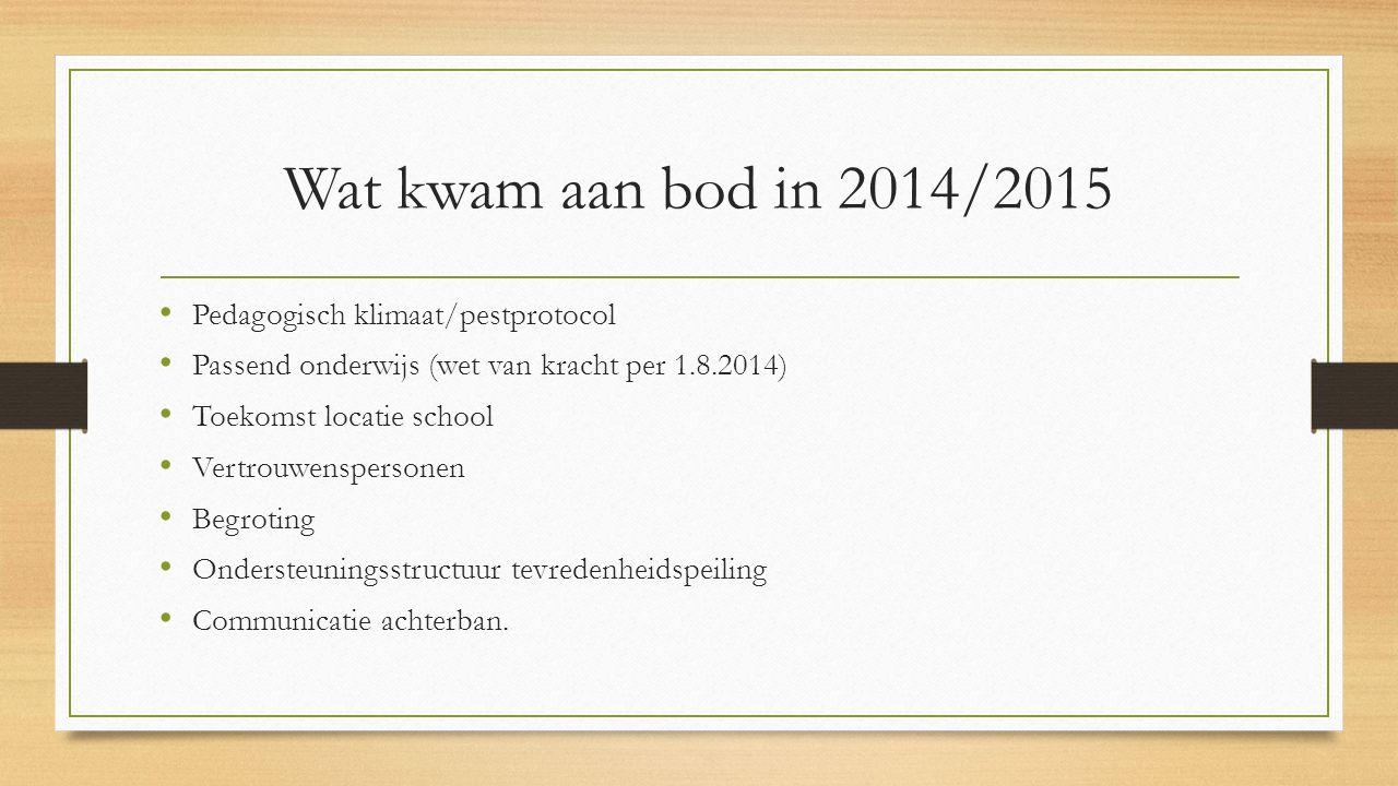 Wat kwam aan bod in 2014/2015 Pedagogisch klimaat/pestprotocol Passend onderwijs (wet van kracht per 1.8.2014) Toekomst locatie school Vertrouwenspers
