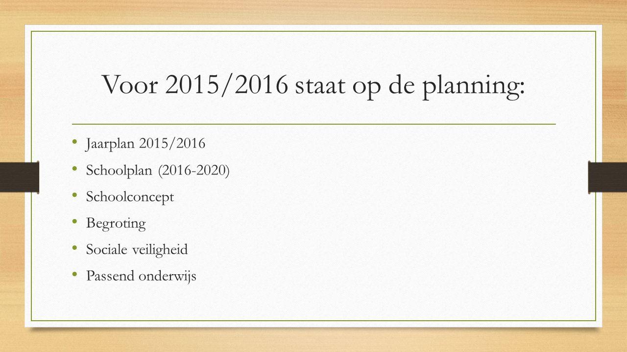 Voor 2015/2016 staat op de planning: Jaarplan 2015/2016 Schoolplan (2016-2020) Schoolconcept Begroting Sociale veiligheid Passend onderwijs