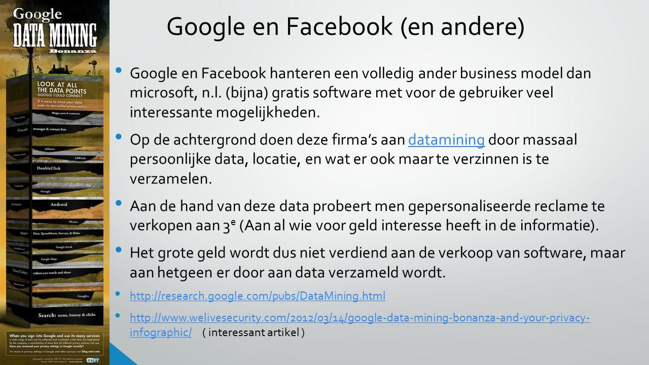 Google en Facebook (en andere) Google en Facebook hanteren een volledig ander business model dan microsoft, n.l.