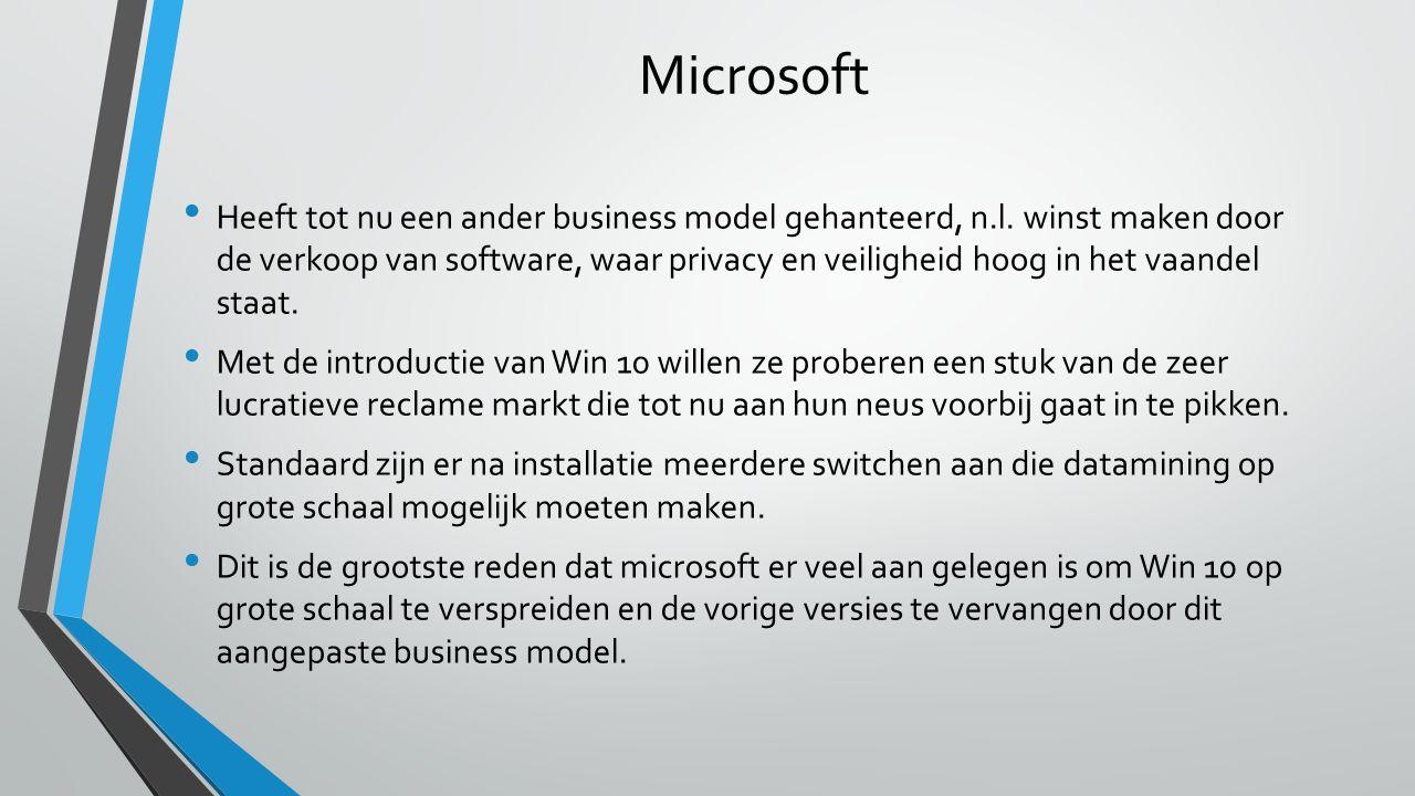 Microsoft Heeft tot nu een ander business model gehanteerd, n.l.