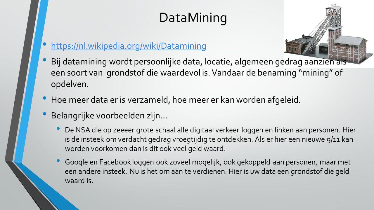 DataMining https://nl.wikipedia.org/wiki/Datamining Bij datamining wordt persoonlijke data, locatie, algemeen gedrag aanzien als een soort van grondstof die waardevol is.
