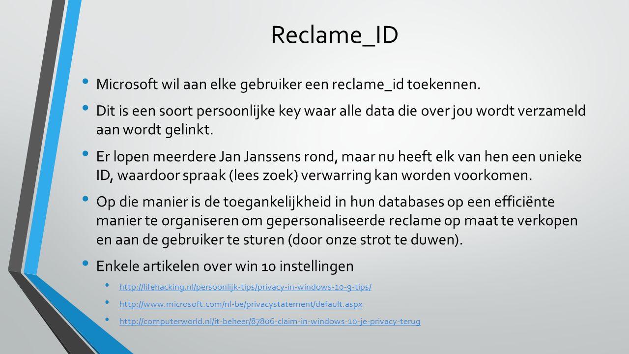 Reclame_ID Microsoft wil aan elke gebruiker een reclame_id toekennen.