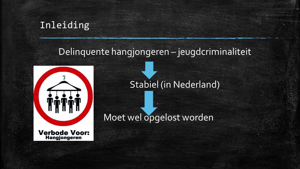 Inleiding Delinquente hangjongeren – jeugdcriminaliteit Stabiel (in Nederland) Moet wel opgelost worden