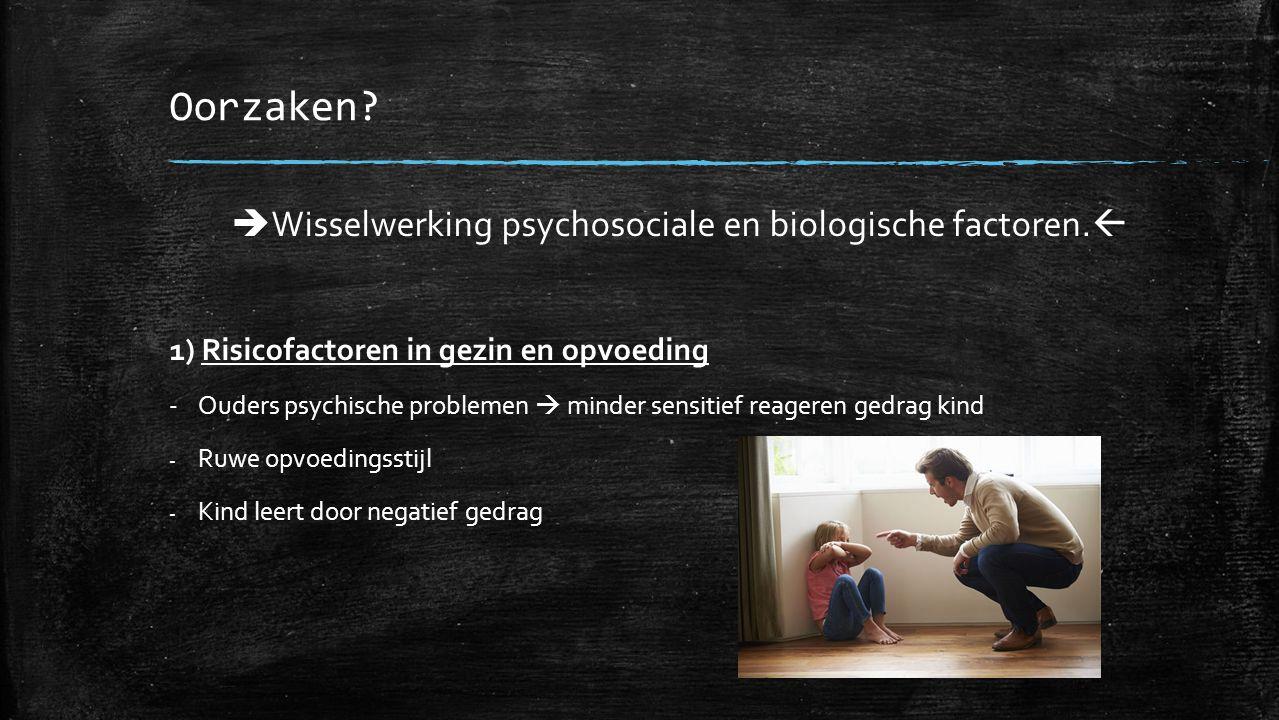 Oorzaken.  Wisselwerking psychosociale en biologische factoren.