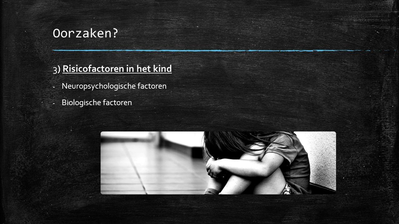 Oorzaken 3) Risicofactoren in het kind - Neuropsychologische factoren - Biologische factoren