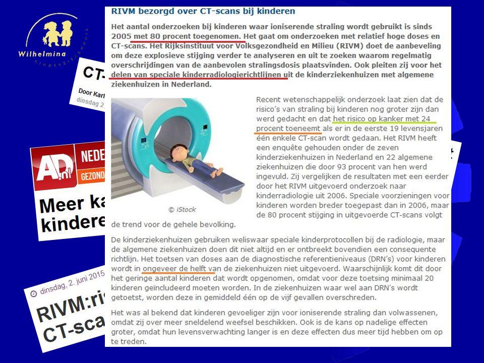 carcinogeen effect bij kinderen Hogere gevoeligheid - snel delende cellen Langere levensverwachting Gemiddelde risico: 5% per Sv <10 y: 17% per Sv ICRP 1991 & 2007
