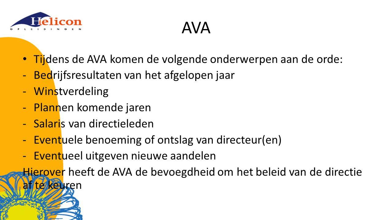 AVA Tijdens de AVA komen de volgende onderwerpen aan de orde: -Bedrijfsresultaten van het afgelopen jaar -Winstverdeling -Plannen komende jaren -Salar